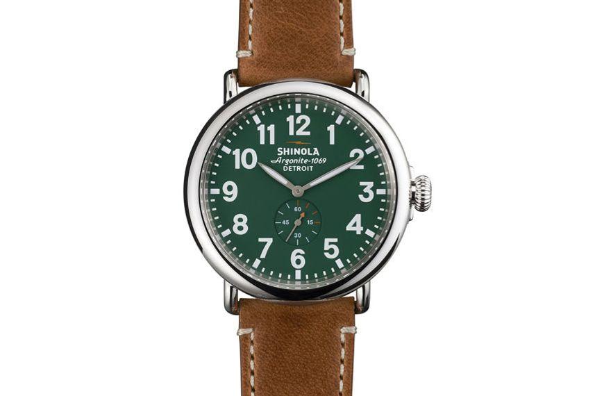 Shinola 47mm Runwell Men's Watch, Green/Brown