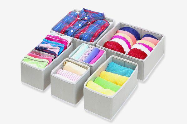 SimpleHouseware Foldable Cloth Organizer for Underwear Bras (Set of 6)