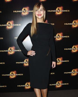 Jennifer Lawrence attends 'Hunger Games' Paris premiere at Cinema Gaumont Marignan on March 15, 2012 in Paris, France.