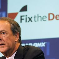 Erskine Bowles, chairperson of the National Commission on Fiscal Responsibility and Reform, speaks during a news conference for the Campaign to Fix the Debt at the Nasdaq Market site in New York January 8, 2013.