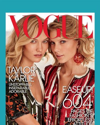 A <em>Vogue</em> cover, with two friends on it named Karlie Kloss and Taylor Swift.