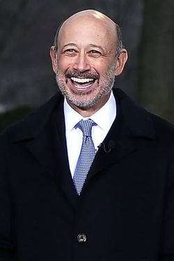 Chairman and CEO of Goldman Sachs Group Lloyd Blankfein speaks during a TV interview after a meeting with U.S. President Barack Obama February 5, 2013 in Washington, DC. Obama was meeting with business leaders to discuss issues including immigration reform, economy, and deficit reduction.