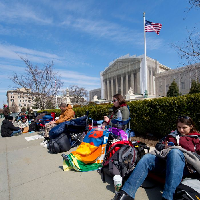 People line up outside the U.S. Supreme Court to get a chance to sit in the public gallery days ahead of oral arguments on two landmark gay rights cases. The Court is hearing arguments March 26 and 27 on cases weighing the legality of California's Proposition 8 and the Defense of Marriage Act. People began lining up Thursday night