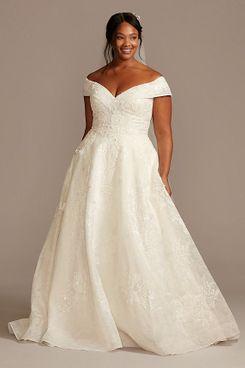 Oleg Cassini Cuff Off the Shoulder Lace Plus Size Wedding Dress