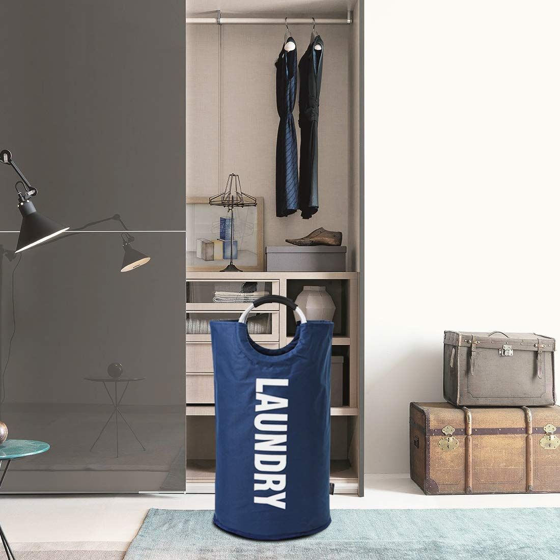 Free Door Hooks Two Compartments Tested to be Strong and Durable Open Top Design to Hold More Laundry Than Other Type Bags Space Saving Lights and Darks Hanging Laundry Hamper Bag