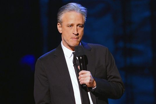 Jon Stewart performs on stage on February 28, 2015 in New York City.