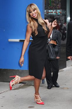 Actress Laverne Cox visits 'Good Morning America' in NYC's Times Square