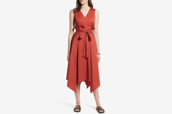 Halogen Sleeveless Poplin Tie Waist Midi Dress