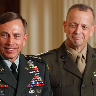 WASHINGTON, DC - APRIL 28:  U.S. Army Gen. David Petraeus (L) and Marine Corps Gen. John Allen smile after President Barack Obama announced that he will nominate Allen to succeed Petraeus and Petreaus to succeed Leon Panetta as director of the CIA in the East Room of the White House April 28, 2011 in Washington, DC. Obama also announced that he has tapped current CIA Director Leon Panetta to succeed Robert Gates at the department of defense, and Ambassador Ryan Crocker to be the next U.S. ambassador to Afghanistan. (Photo by Chip Somodevilla/Getty Images) *** Local Caption *** David Petraeus;John Allen;