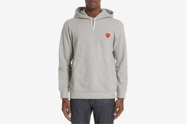 Comme des Garçons Play Grey & Red Heart Patch Hoodie
