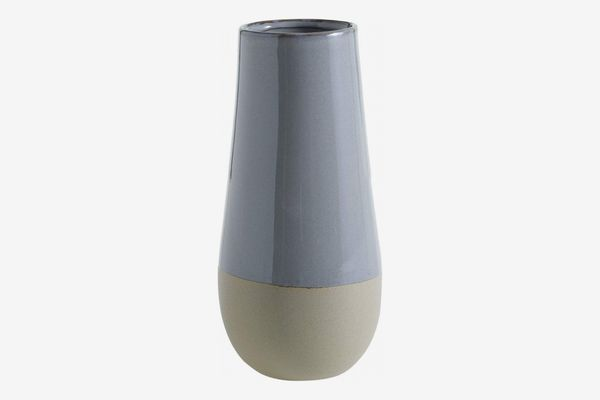 Accent Decor Light Blue and Grey Ceramic Round Vase