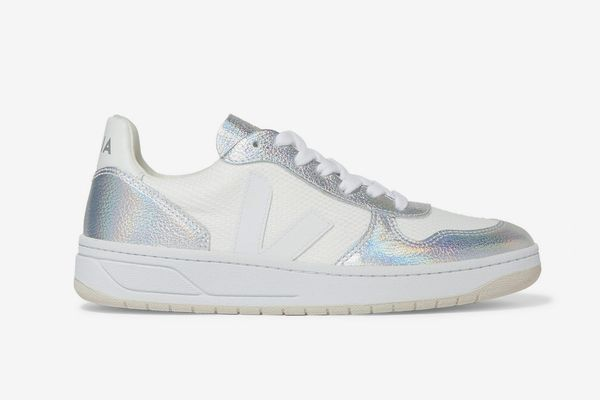 Veja + Net Sustain V-10 Iridescent Metallic Leather and Canvas Sneakers