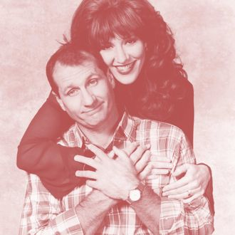 Promotional portrait of actors Ed O'Neill and Katey Sagal for the television series 'Married with Children,' 1993.