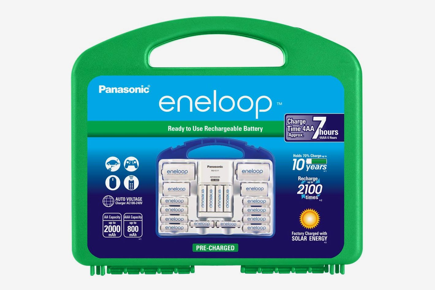 """Panasonic Eneloop Super Power Pack 12AA, 4AAA, 2 C Adapters, 2 D Adapters, """"Advanced"""" Individual Battery Charger and Plastic Storage Case"""