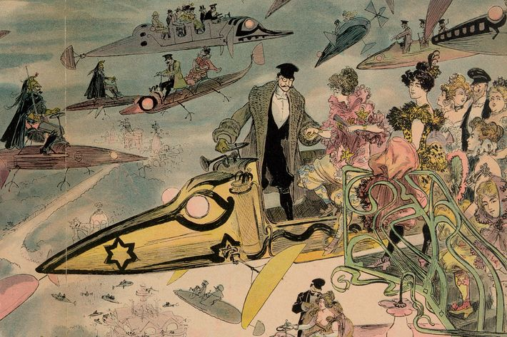 <i>Le Sortie de l'Opéra en l'An 2000</i>, by Albert Robida, circa 1882, predicts the year 2000.