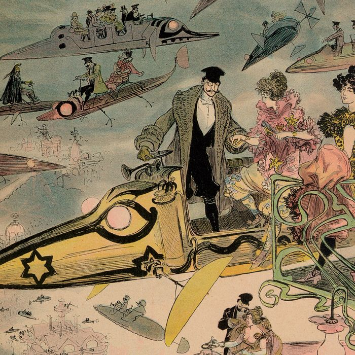 <i>Le Sortie de l'Opéra en l'An 2000</i>, by Albert Robida, circa 1882, predicts the year 2000.