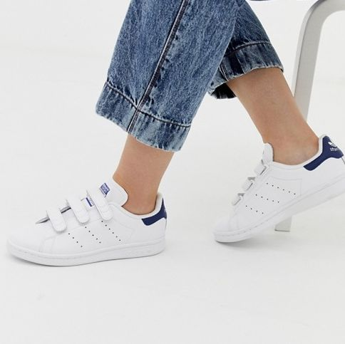 Adidas Originals Stan Smith CF Sneakers in White and Navy