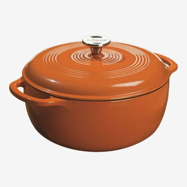 Lodge Color Enameled Cast Iron Dutch Oven, Pumpkin