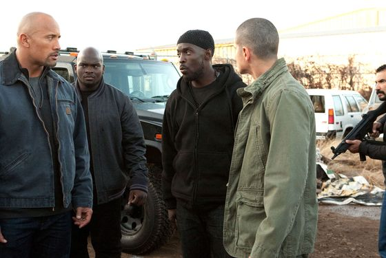 (L to R) DWAYNE JOHNSON, SHUN HAGINS, MICHAEL WILSON, JAIME MEDELES and FERNANDEZ OSVALDO star in SNITCH