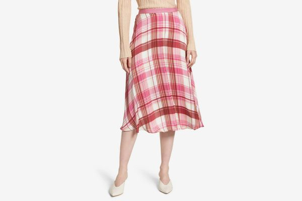 Lewit Plaid Silk Skirt