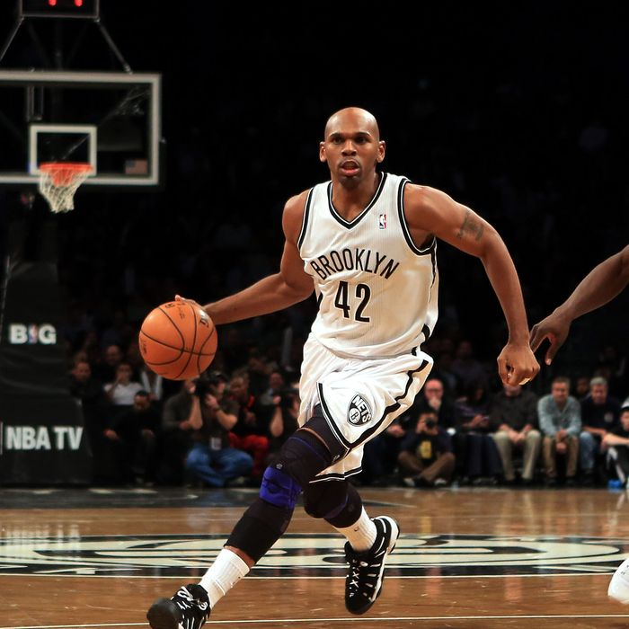 Jerry Stackhouse #42 of the Brooklyn Nets dribbles the ball against the Boston Celtics at the Barclays Center on November 15, 2012 in the Brooklyn borough of New York City.
