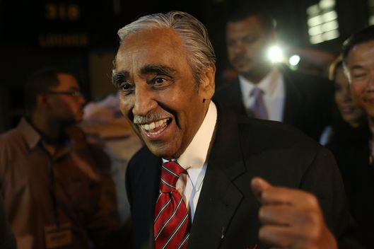 NEW YORK, NY - JUNE 26:  Congressman Charles Rangel arrives to supporters at his campaign headquarters after polls have closed in his race for the Democratic primary challenge in New York's 15th congressional district on June 26, 2012 in New York City. After a more than four-decades-long congressional career, Rangel fought for the Democratic nomination in a newly re-drawn congressional district that is no longer dominated by African Americans. The 82-year-old Rangel was locked in a race Tuesday for the nomination in his Harlem-area district with New York state Sen. Adriano Espaillat. Espaillat, a 57-year-old Dominican-American, has shown growing popularity in a district that now has more Latino-Americans than African-Americans.  (Photo by Spencer Platt/Getty Images)