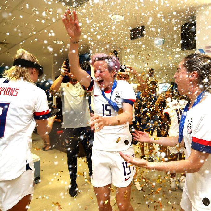 U.S. women's national soccer team celebrating after winning the 2019 Women's World Cup.