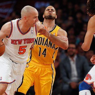 Jason Kidd #5 of the New York Knicks drives by D.J. Augustin #14 of the Indiana Pacers during Game Two of the Eastern Conference Semifinals of the 2013 NBA Playoffs at Madison Square Garden on May 7, 2013 in New York City.