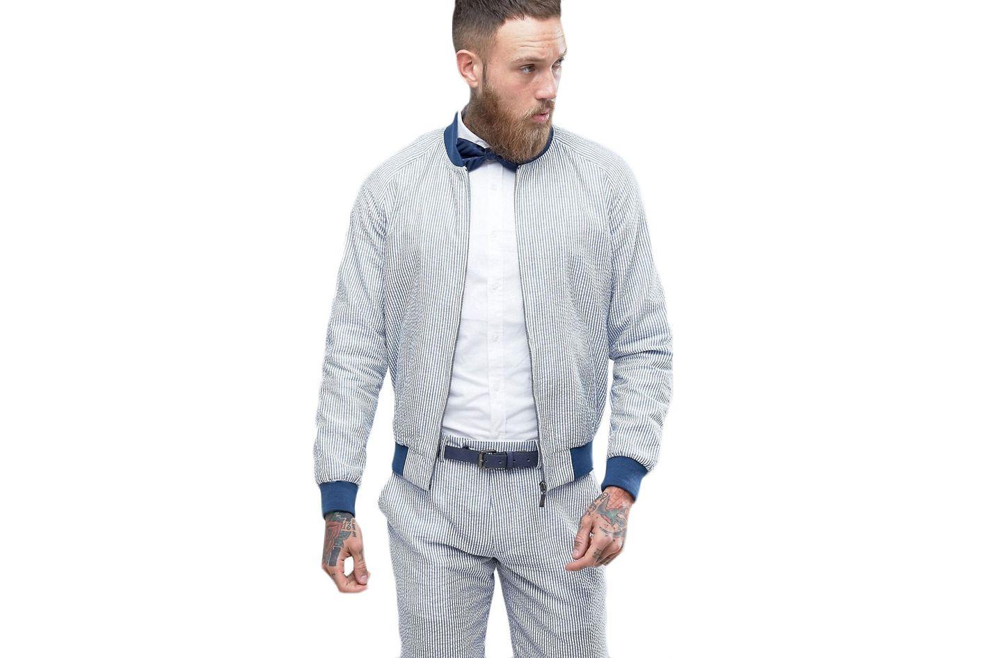 Gianni Feraud Pastel Stripe Seersucker Bomber Jacket