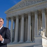 Attorney Donald Verrilli speaks to the media in front of the US Supreme Court.