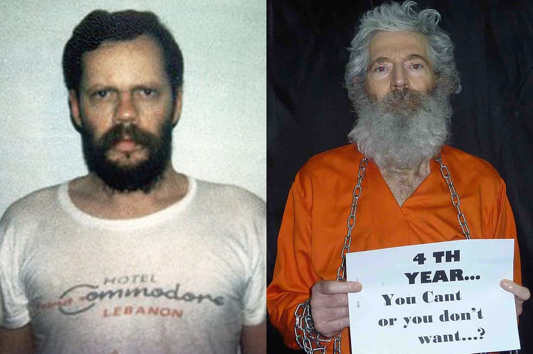 Terry Anderson, left, in Beirut in 1988; Robert Levinson, right, in 2013.
