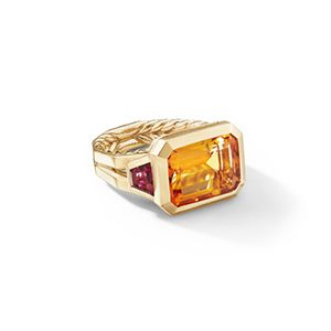 Novella Three Stone Ring with Madeira Citrine and Rubellite