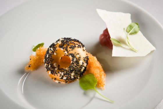 """Frozen """"everything bagel"""" with smoked-salmon threads and crispy cream-cheese."""