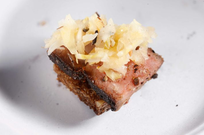 American Cut: Pastrami rib eye bites with fermented slaw.