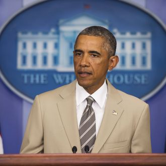 US President Barack Obama speaks in the Brady Press Briefing Room at the White House in Washington, DC, August 28, 2014. Obama said that because of airstrikes ISIS is losing arms and equipment.