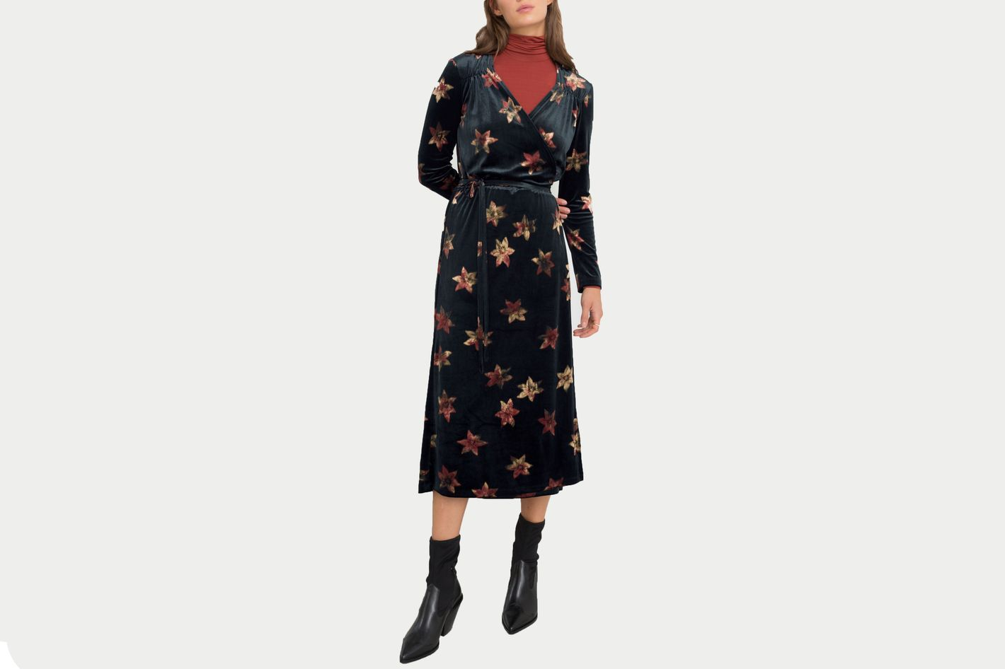 & Other Stories Floral Velour Wrap Dress