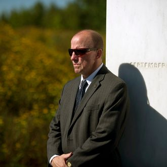 SHANKSVILLE, PA - SEPTEMBER 11: A Secret Service agent stands in front of the Wall of Names at the Flight 93 National Memorial during observances commemorating the eleventh anniversary of the 9/11 attacks, on September 11, 2012 in Shanksville, Pennsylvania. The nation is commemorating the eleventh anniversary of the September 11, 2001 attacks which resulted in the deaths of nearly 3,000 people after two hijacked planes crashed into the World Trade Center, one into the Pentagon in Arlington, Virginia and one crash landed in Shanksville, Pennsylvania. (Photo by Jeff Swensen/Getty Images)