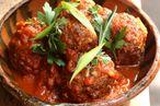 Albóndigas: oxtail meatballs in tomato sauce.