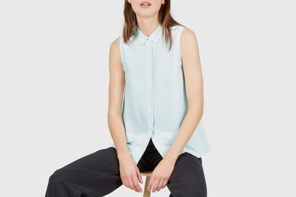 Everlane Silk Sleeveless Square Shirt