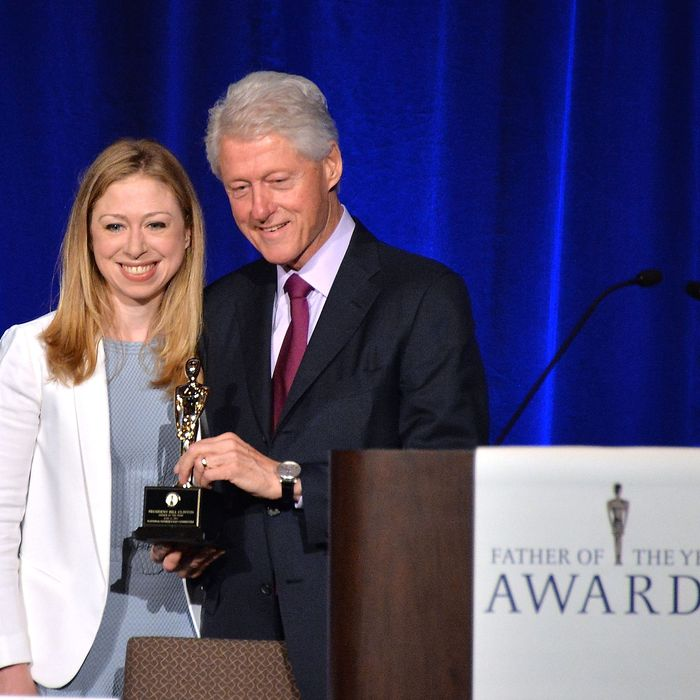 Chelsea Clinton and President Bill Clinton attend the 72nd Annual Father Of The Year Awards at Grand Hyatt New York on June 11, 2013 in New York City.