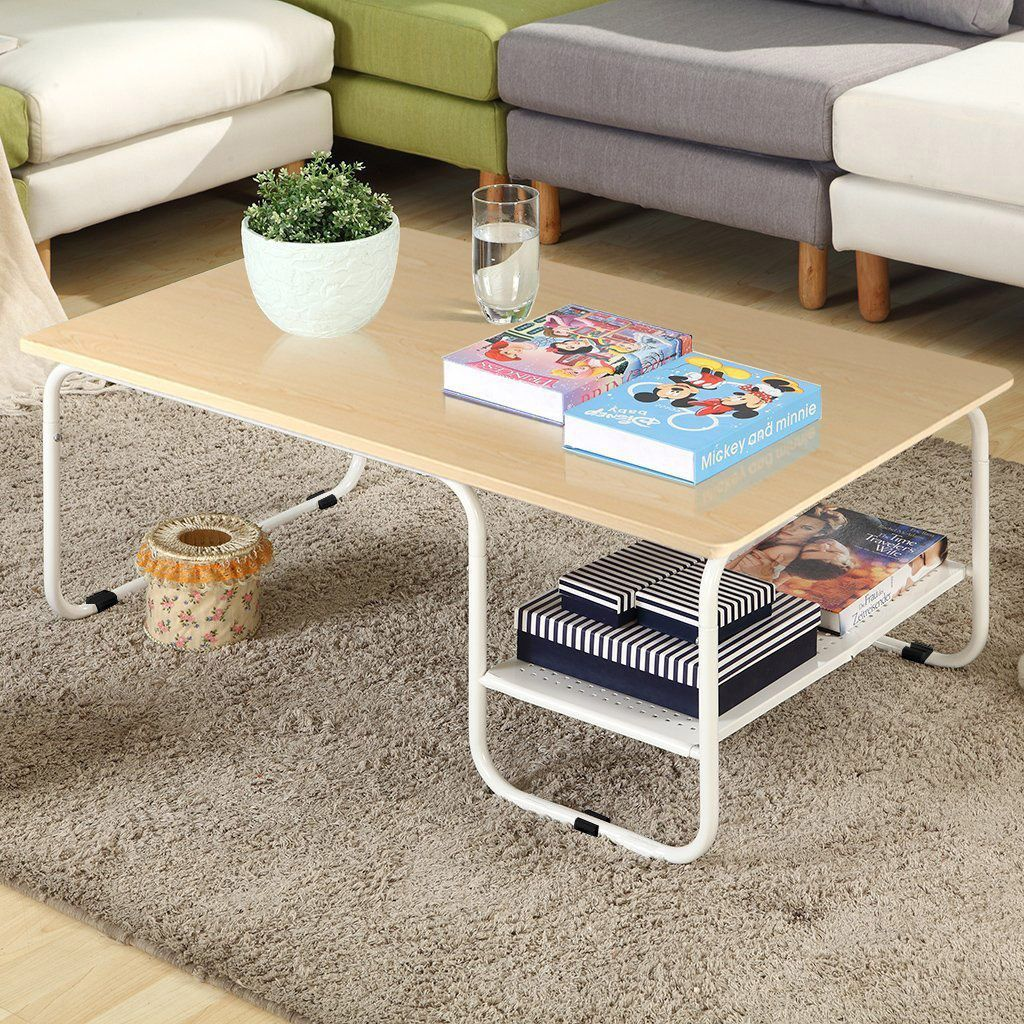 Topeakmart Modern Rectangular Wood Coffee Table With White Metal Storage Shelf