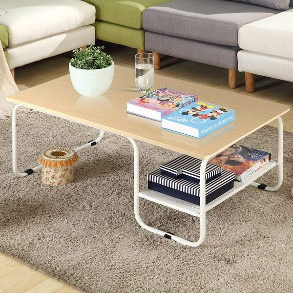 Topeakmart Modern Rectangular Wood Coffee Table With White Metal Storage Shelf