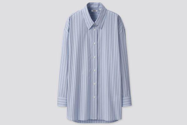 Women U Cotton Oversized Striped Long-Sleeve Shirt
