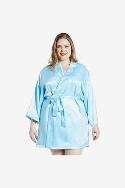 Jovannie Satin 3/4 Sleeve Plus-Size Kimono Robe