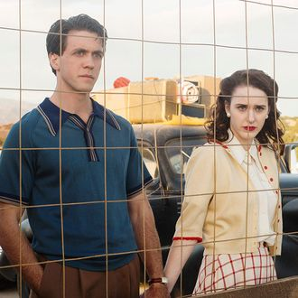 (L-R) Ashley Zukerman as Charlie Isaacs and Rachel Brosnahan as Abby Isaacsin WGN America's