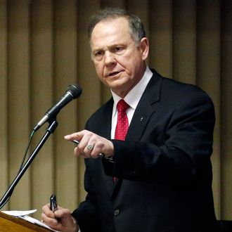 Chief Justice Roy Moore of the Alabama Supreme Court addresses a Pro-Life Mississippi and a Pastors for Life pastors luncheon in Jackson, Miss., Friday, Jan. 17, 2014.
