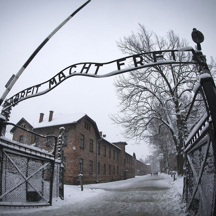 The entrance to the former Nazi concentration camp Auschwitz-Birkenau with the lettering 'Arbeit macht frei' ('Work makes you free') is pictured in Oswiecim, Poland on January 25, 2015, days before the 70th anniversary of the liberation of the camp by Russian forces. AFP PHOTO / JOEL SAGET (Photo credit should read JOEL SAGET/AFP/Getty Images)