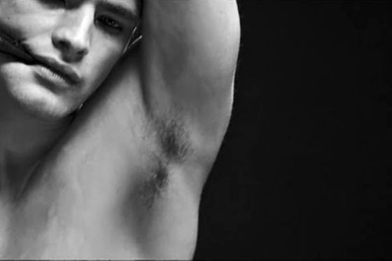 <b>What:</b> Armpit hair.  <b>How</b>: Because in case you haven't noticed, top male models are <i>perfect</i>.