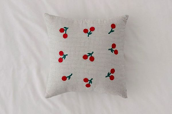 Embroidered Cherry Microcheck Throw Pillow