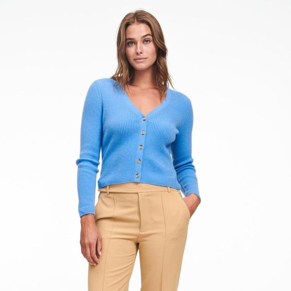 Naadam Cashmere Ribbed Cropped Cardigan
